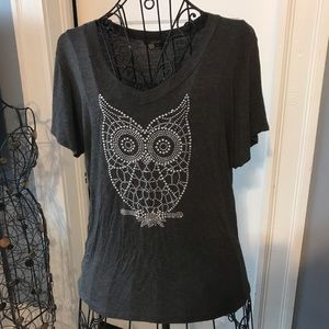 SJS Grey Short Sleeve with Blinked Out Owl sz 1X